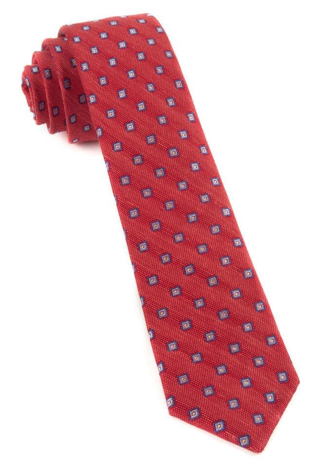 Medallion Scene Light Red Tie