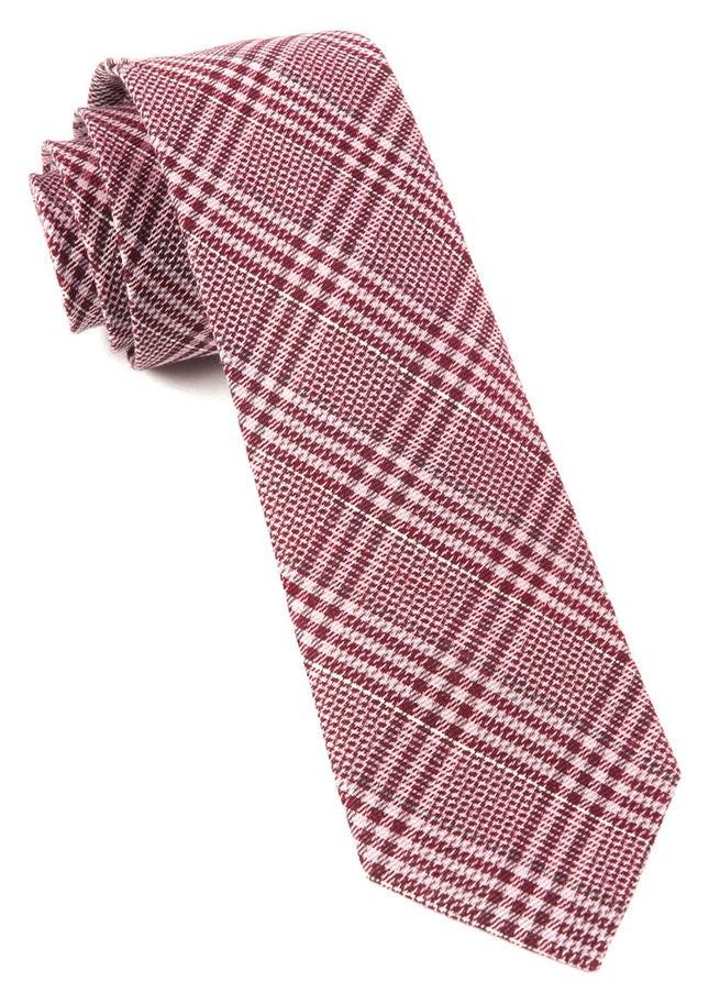 Columbus Plaid Raspberry Tie