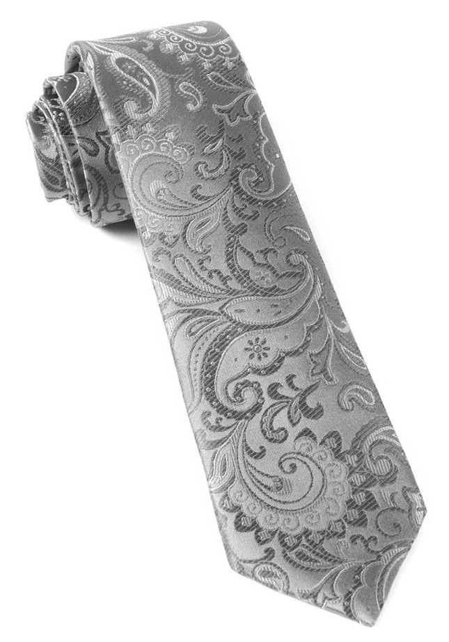 Custom Paisley Silver Tie