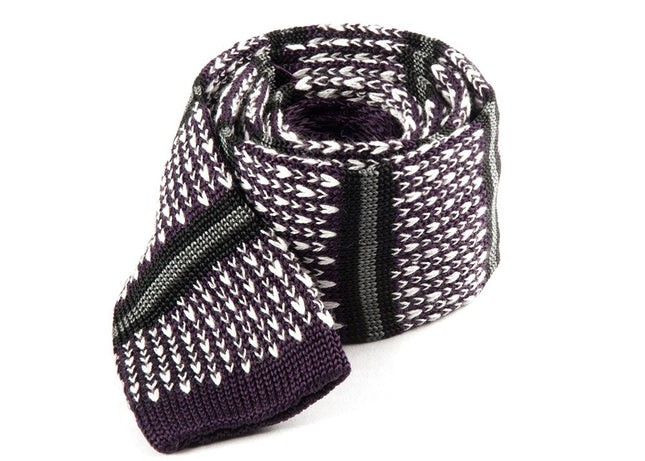 Journey Stripe Eggplant Tie