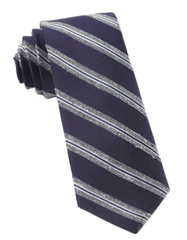 Edison Stripe Eggplant Tie