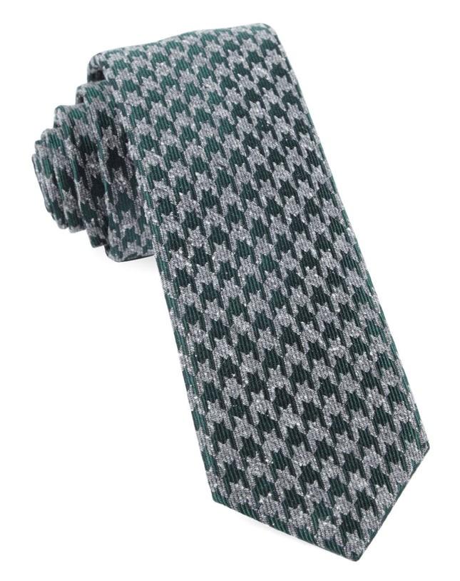 Houndstooth Thrill Hunter Green Tie