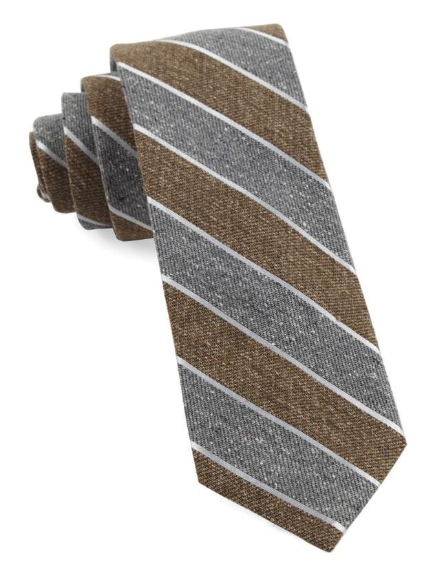Splattered Repp Stripe Brown Tie