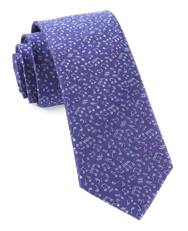 Music Notes Purple Tie