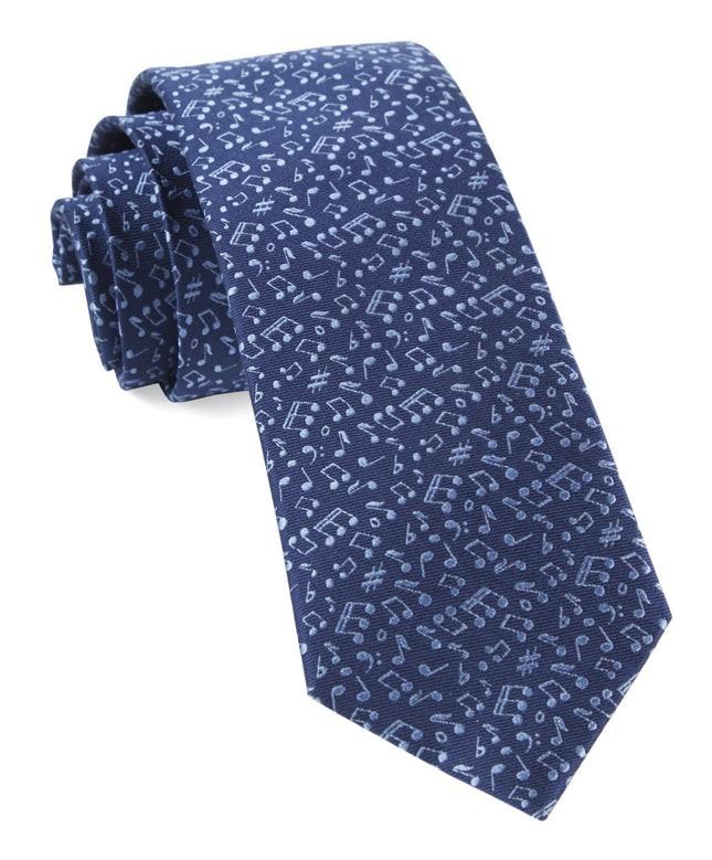 Music Notes Navy Tie