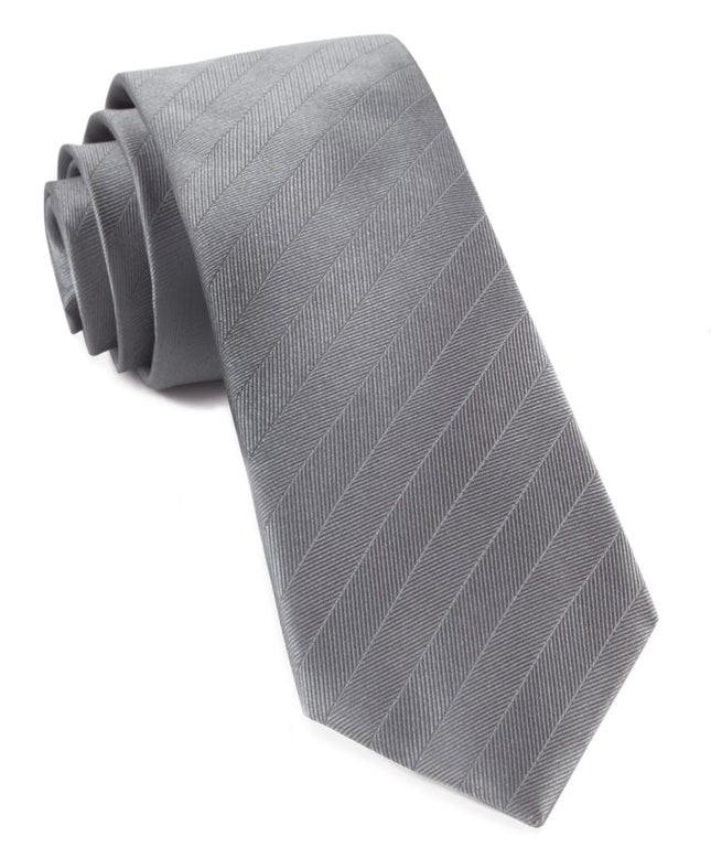 Herringbone Vow Grey Tie