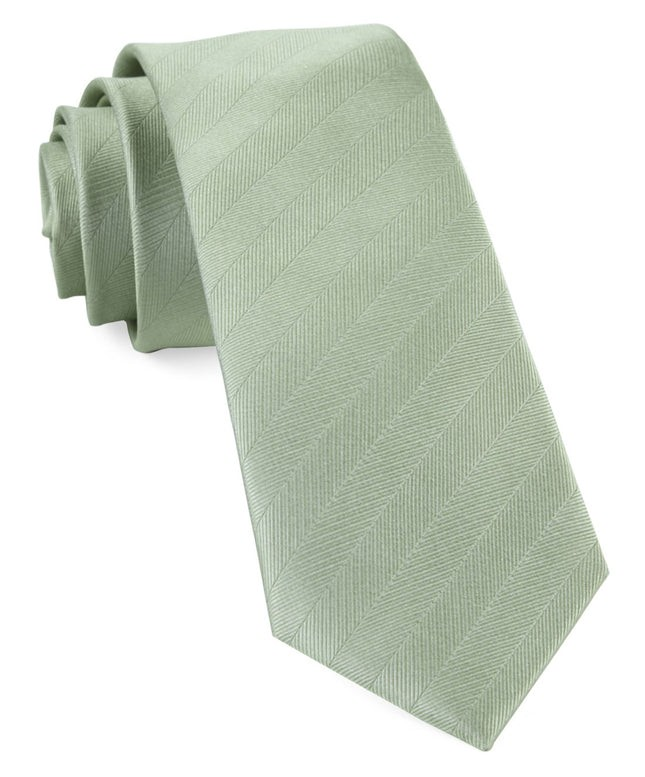 Herringbone Vow Sage Green Tie