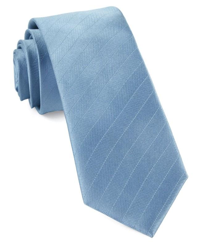 Herringbone Vow Steel Blue Tie