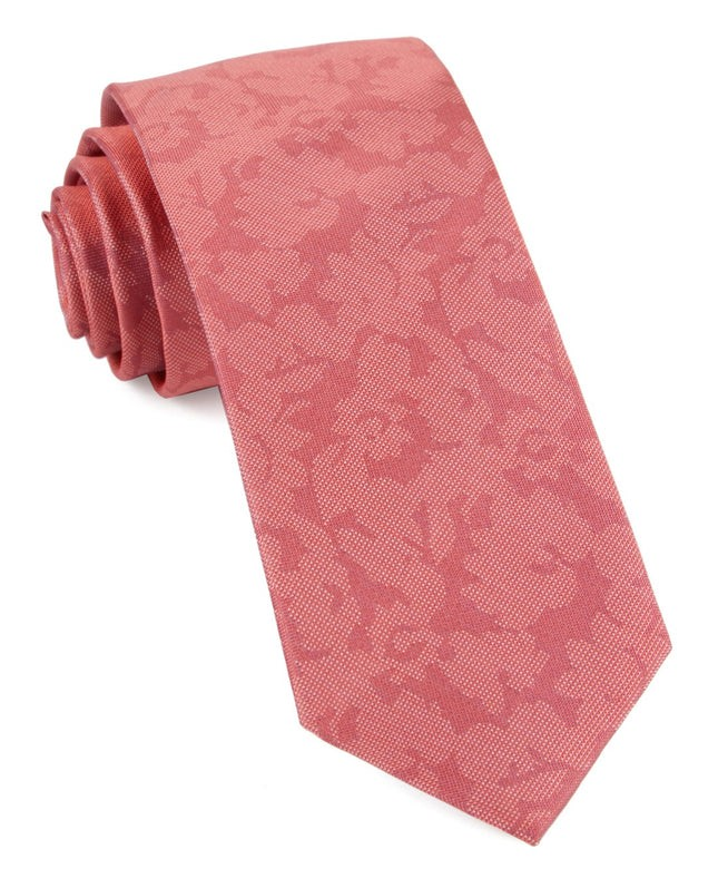 Refinado Floral Coral Tie