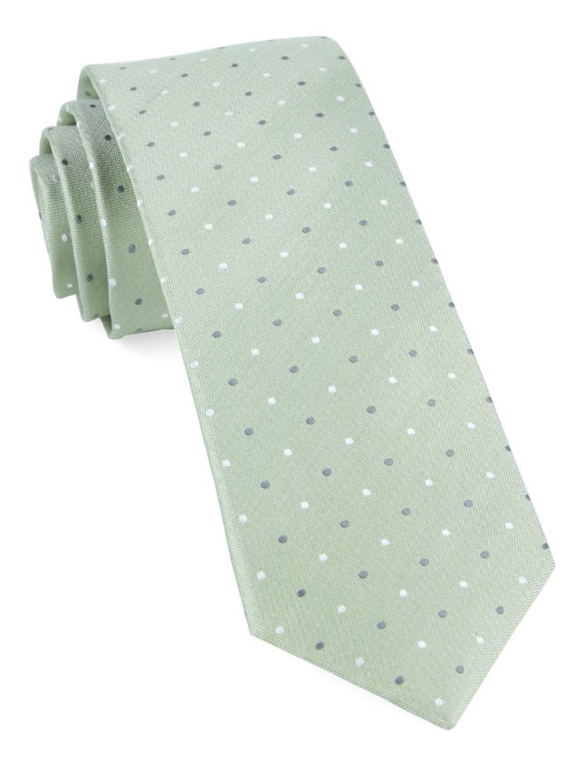 Suited Polka Dots Sage Green Tie