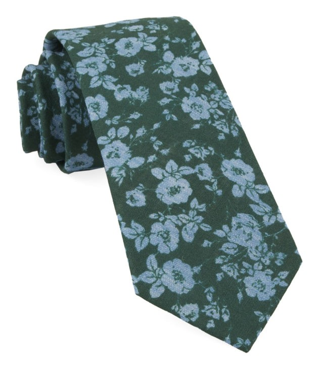 Linen Buds Hunter Green Tie