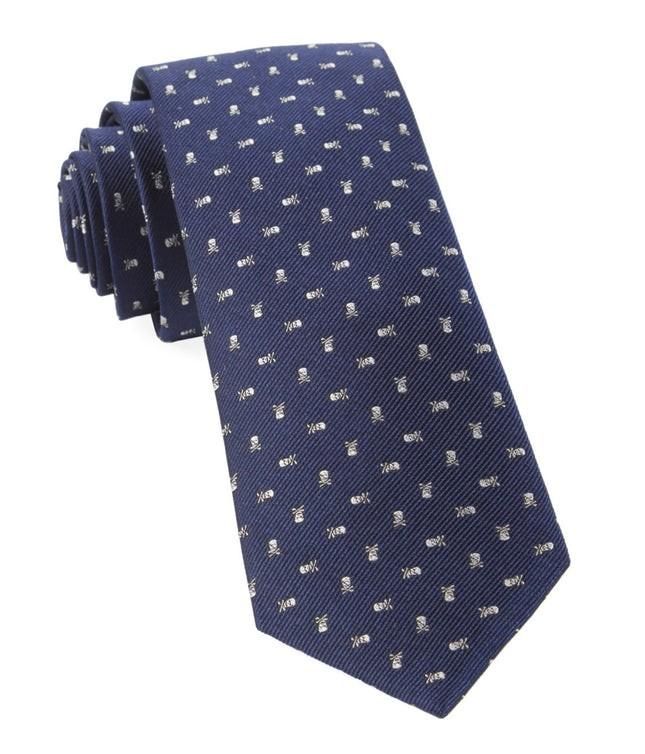 Mini Skull And Crossbones Navy Tie