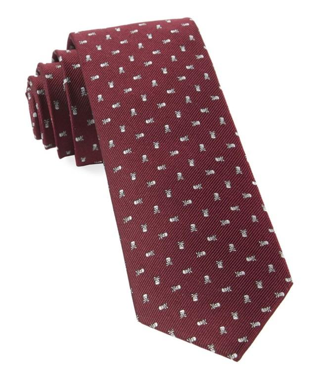 Mini Skull And Crossbones Burgundy Tie