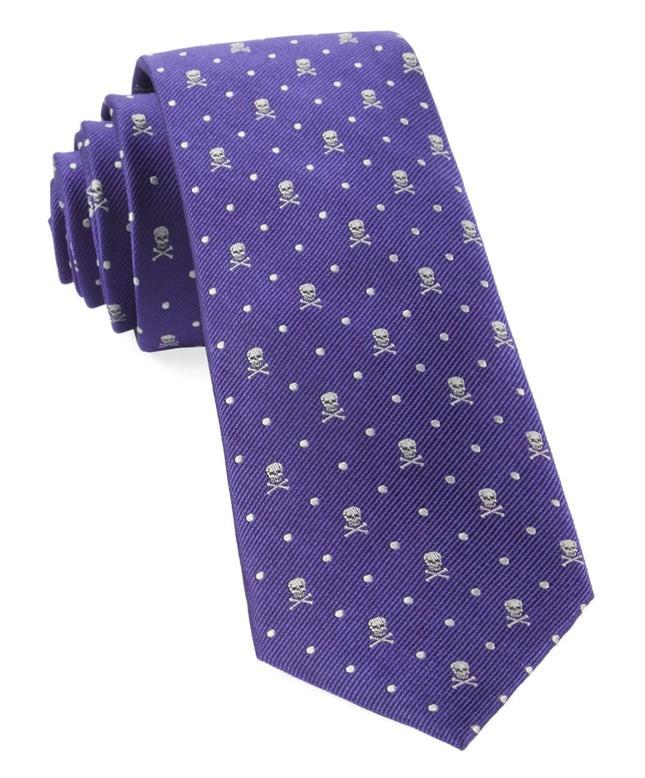 Skull Dots Violet Tie