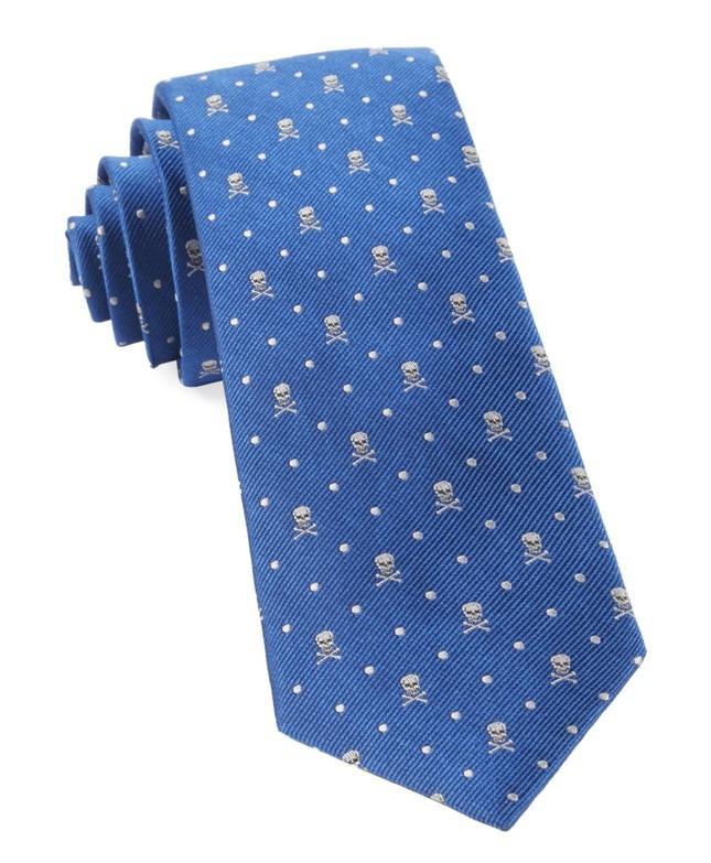 Skull Dots Royal Blue Tie