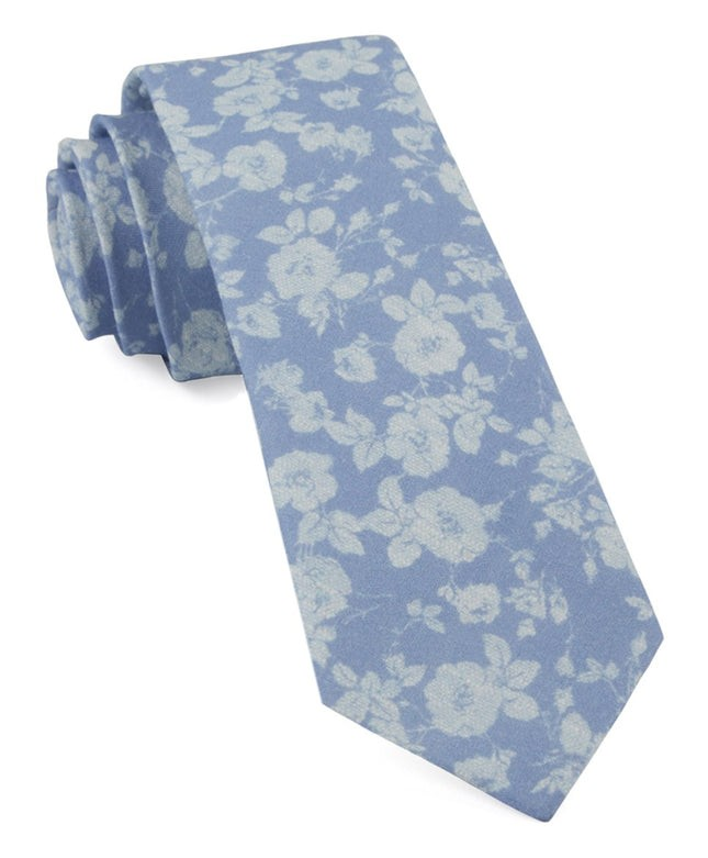 Linen Buds Light Blue Tie