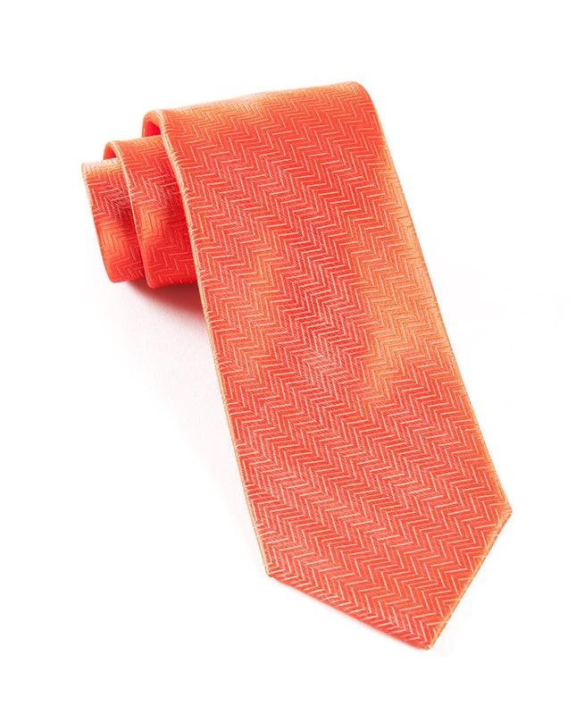 Herringbone Persimmon Red Tie