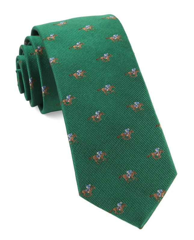 Horse Racing Emerald Green Tie