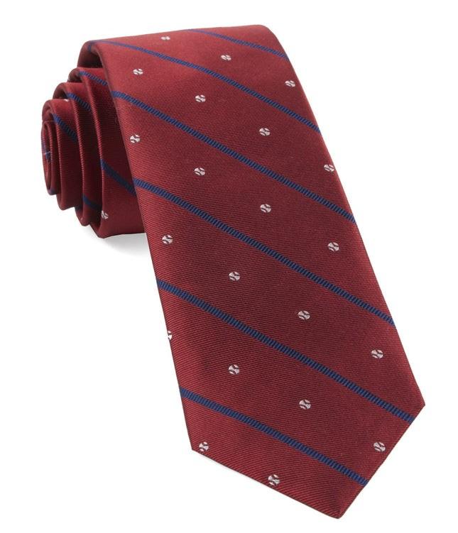 Baseball Stripe Red Tie