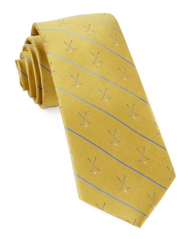 Golf Club Stripe Yellow Tie
