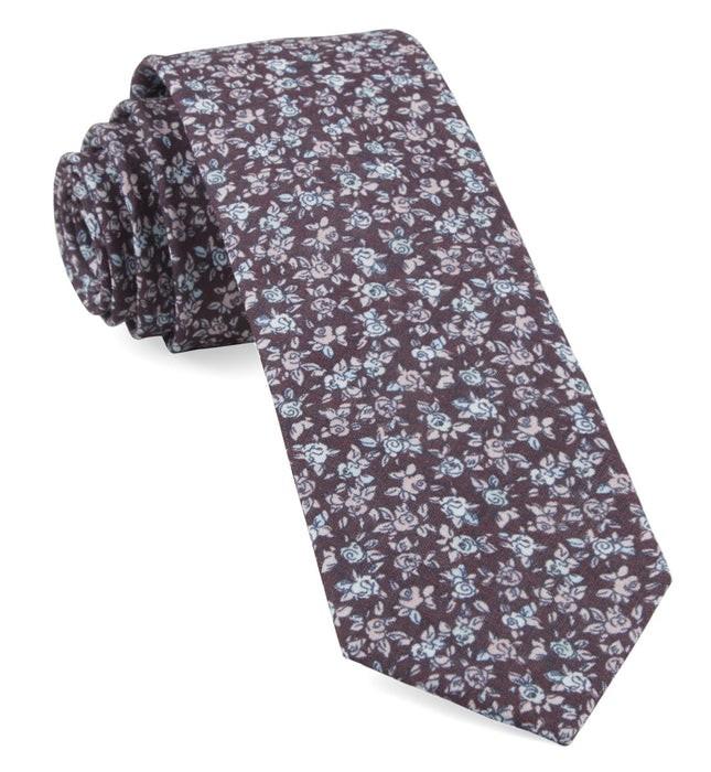 Bhldn Black Cherry Floral Black Cherry Tie