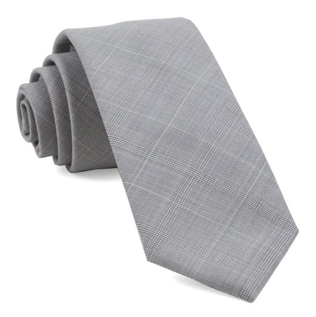Neutral Streak Plaid Silver Tie