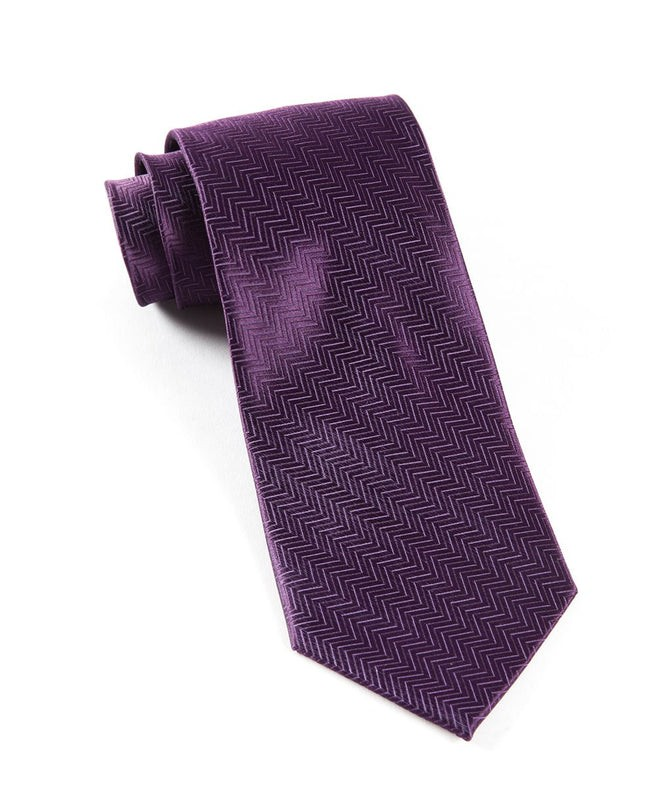 Herringbone Eggplant Tie