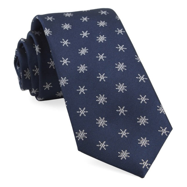 Snowflake Navy Tie