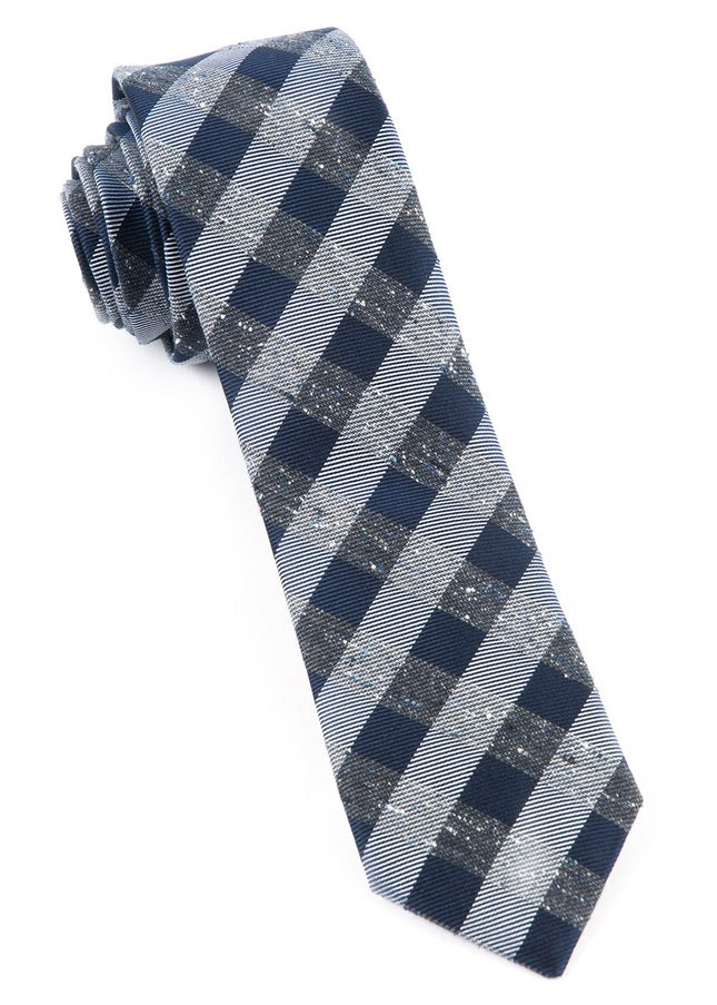 Splattered Gingham Deep Slate Blue Tie