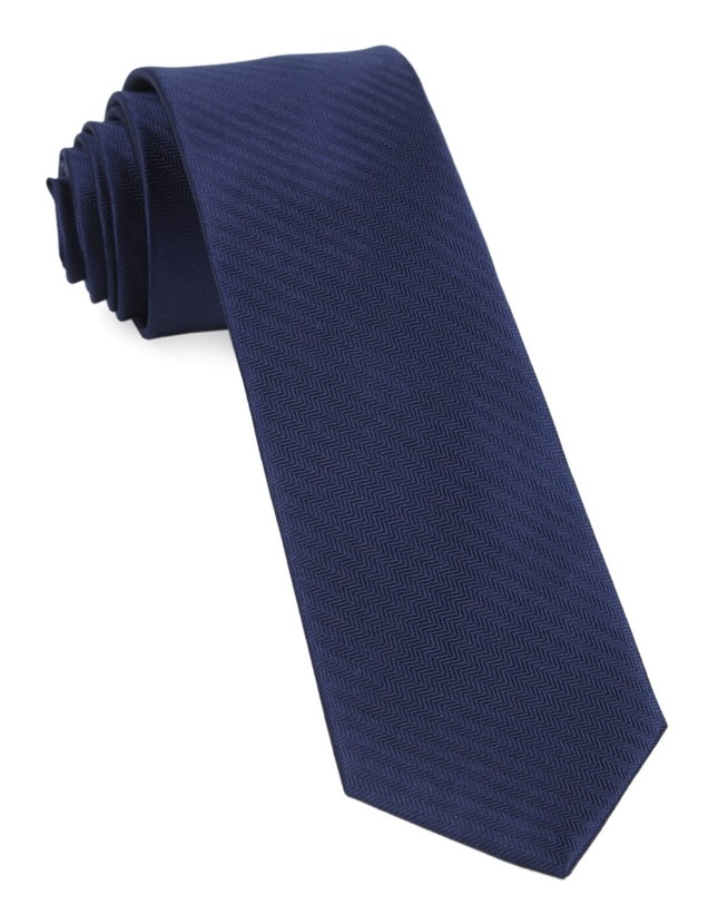 Sound Wave Herringbone Navy Tie