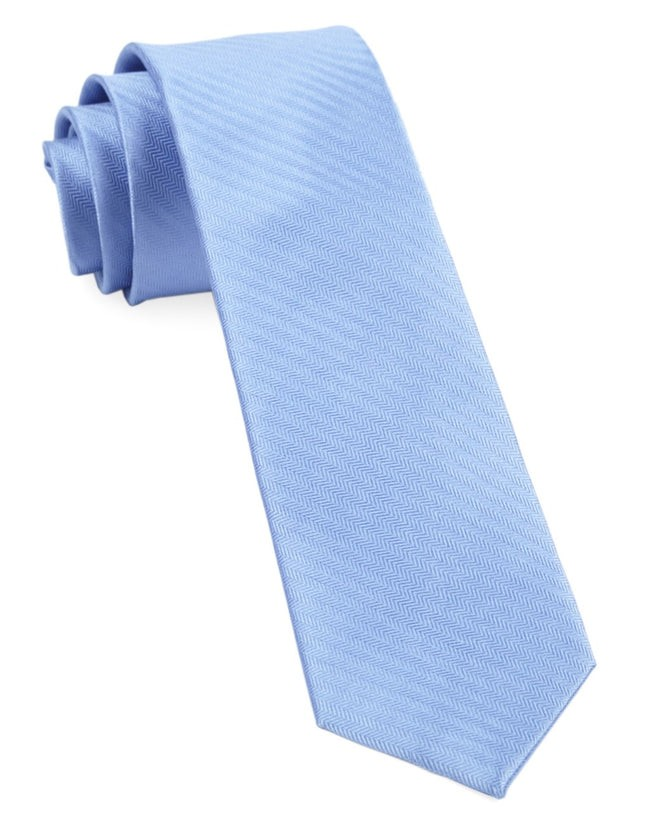 Sound Wave Herringbone Light Blue Tie