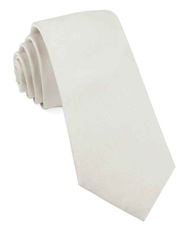 Grosgrain Solid White Tie
