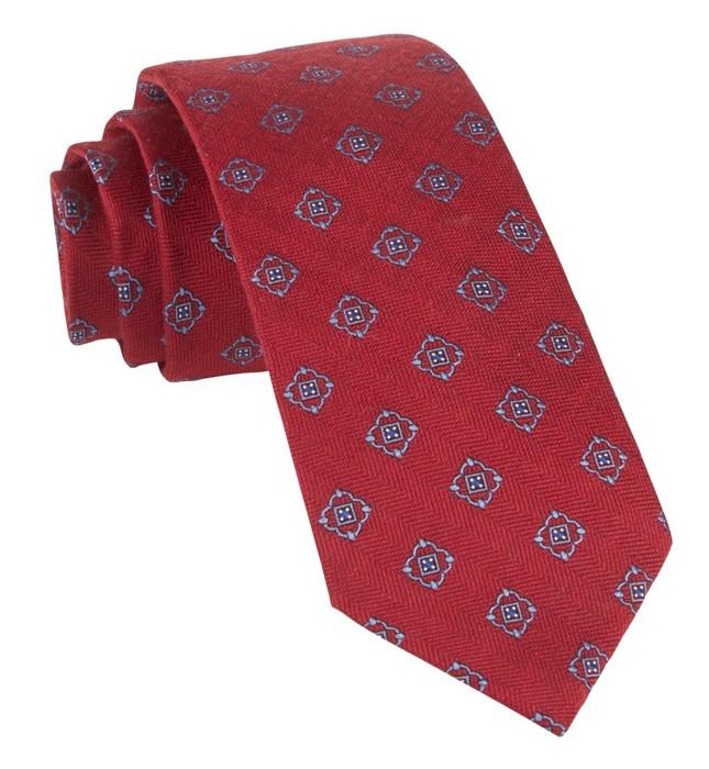 Medallion Shields Red Tie