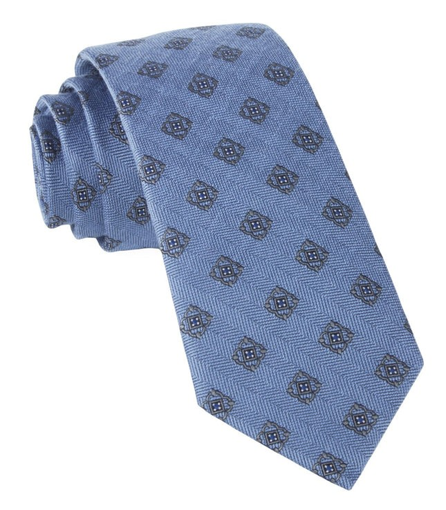 Medallion Shields Light Blue Tie