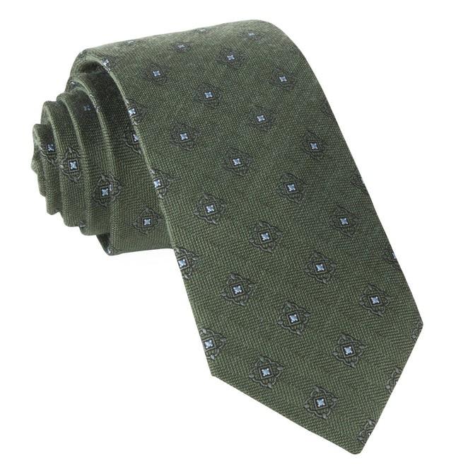 Medallion Shields Army Green Tie