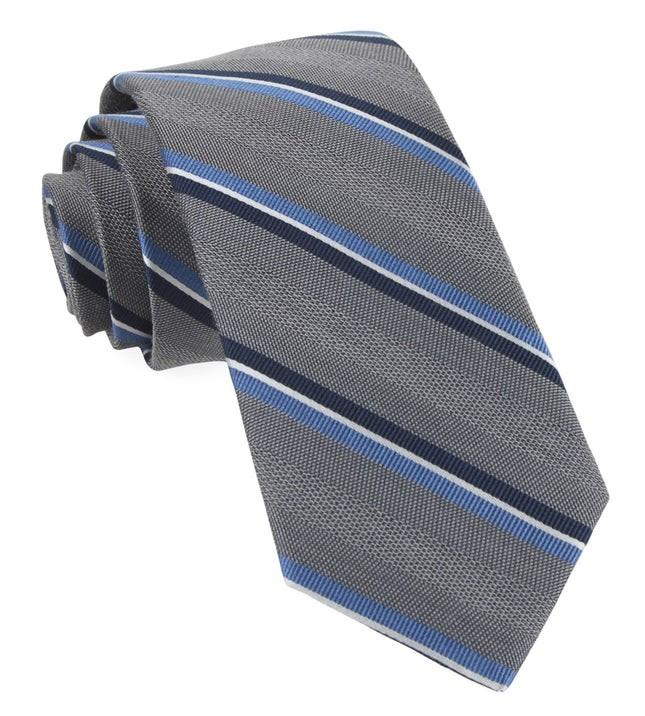 Short Cut Stripe Grey Tie