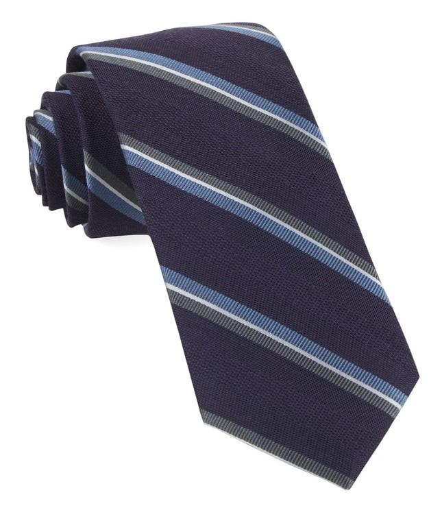 Short Cut Stripe Eggplant Tie