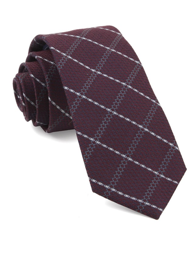 Gem Plaid Burgundy Tie