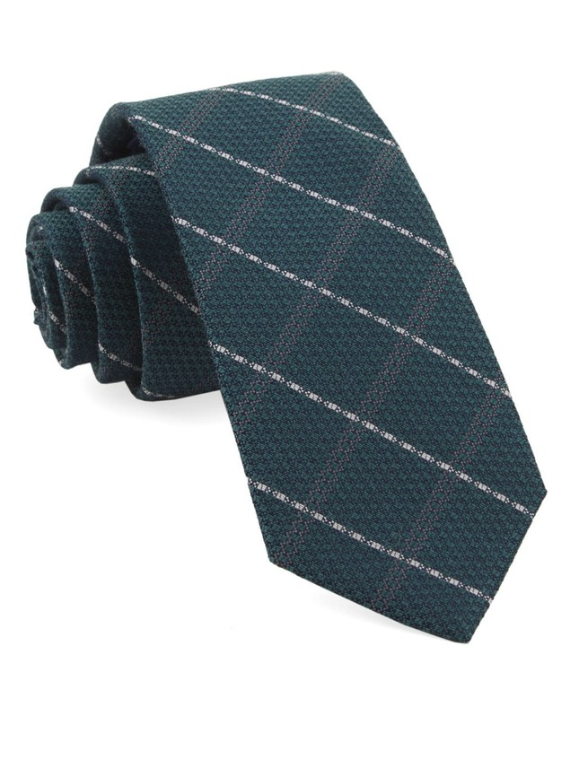 Gem Plaid Hunter Green Tie