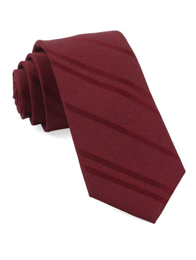 Wool Path Stripe Burgundy Tie