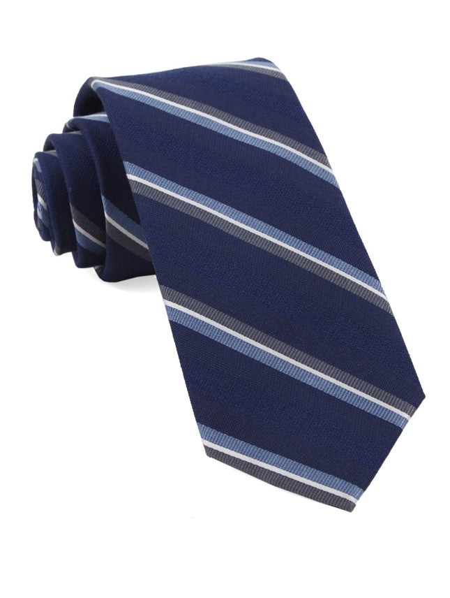 Short Cut Stripe Navy Tie