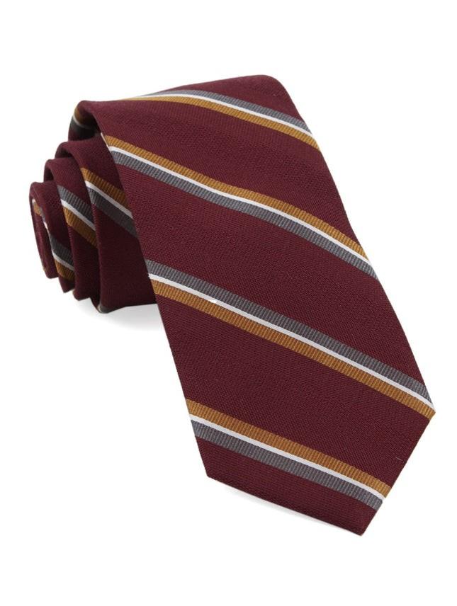 Short Cut Stripe Burgundy Tie