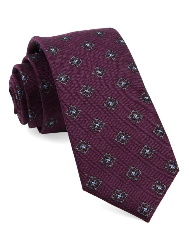 Medallion Shields Wine Tie