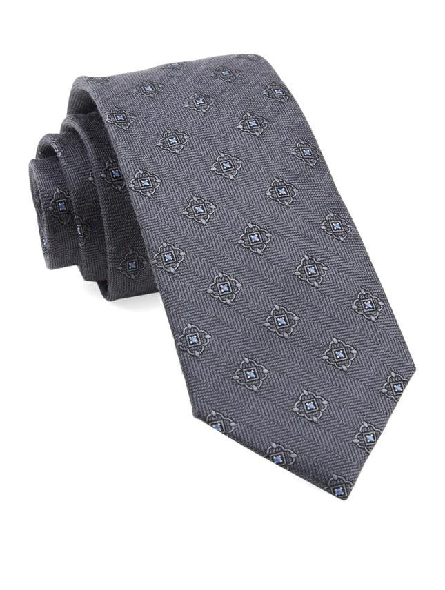 Medallion Shields Grey Tie