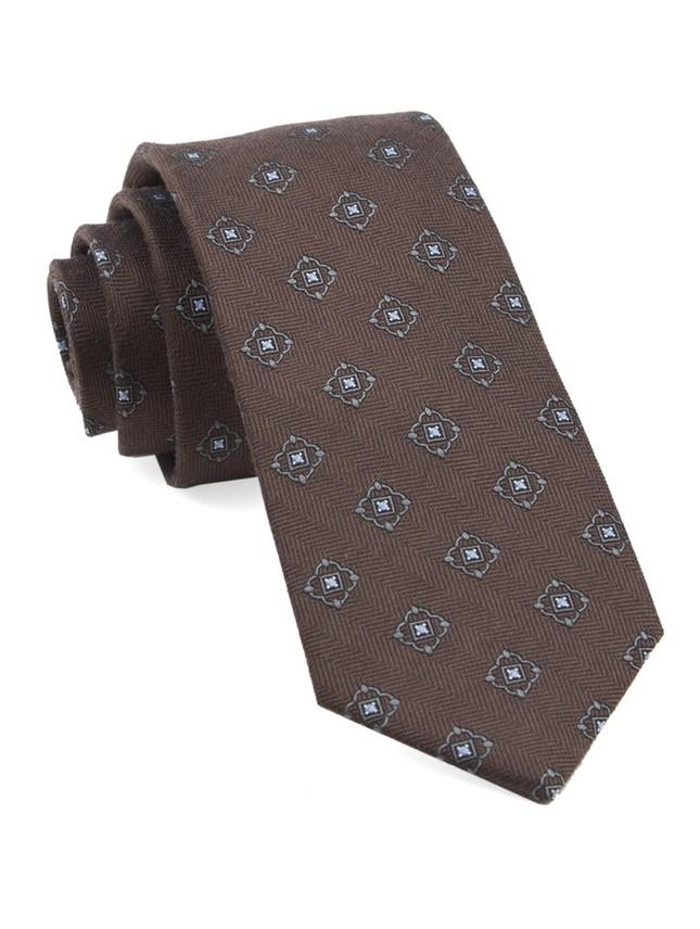 Medallion Shields Brown Tie