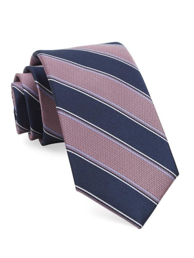 Dual Texture Stripe Pink Tie