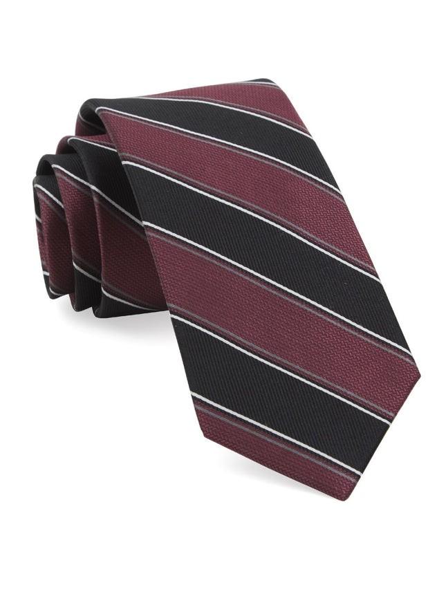 Dual Texture Stripe Marsala Tie