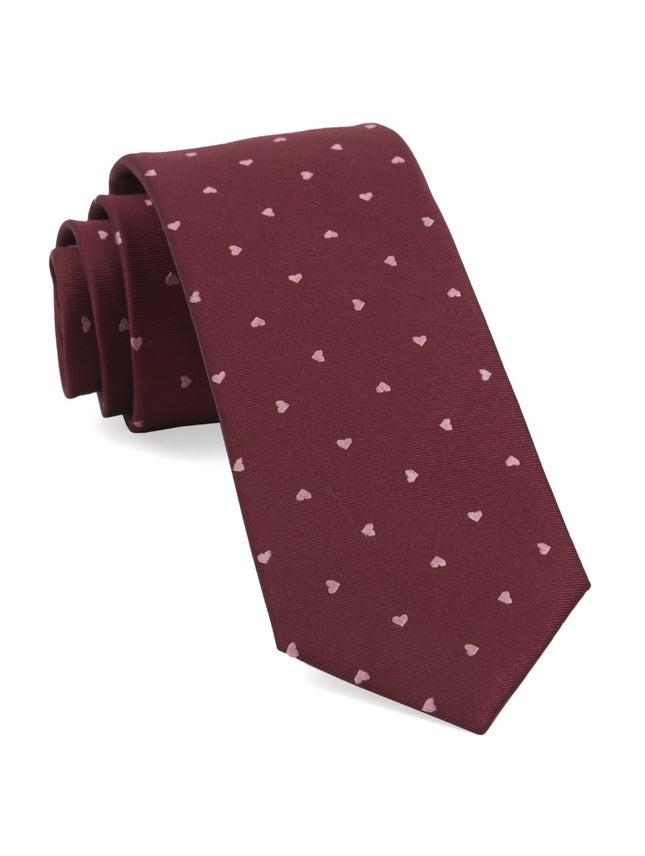 Heart To Heart Burgundy Tie