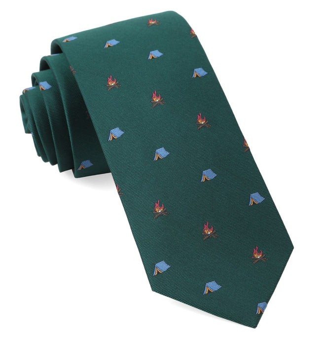 Camp Out Hunter Green Tie