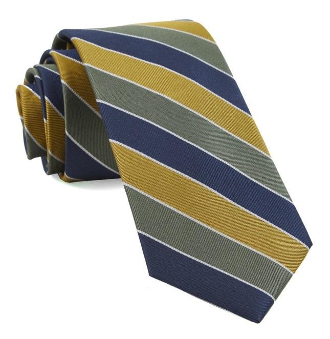 Bedford Stripe Olive Green Tie